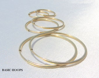 Gold filled Hoop Earrings, Thin Hoops, High Quality Hoops, Gold Hoop Earrings, Sterling Silver Hoops, Silver Hoops, Simple Hoop Earrings.
