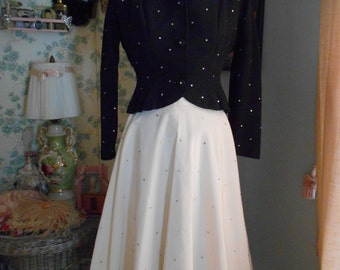 Gorgeous Elegant 1940's Black and White Skirt and Jacket Suit Set with Rhinestones Old Hollywood Glamour
