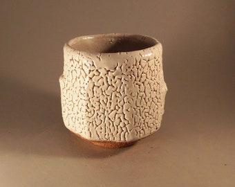 yunomi tea bowl with ice white glaze by steve booton ceramics