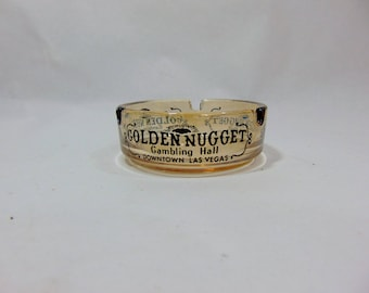 1960s, Golden Nugget, Golden Nugget Casino, Las Vegas, Vintage Ashtray, Vintage Ash Tray, Advertising, Mancave Decor, Tobacciana, Casino