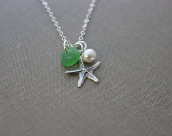 Starfish Necklace with Genuine Sea Glass and Freshwater pearl, Personalized, all sterling silver - Seastar beach Jewelry - seaglass