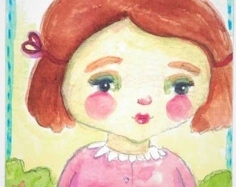 ACEO Original Watercolor Girl OOAK Gift Ceville Designs
