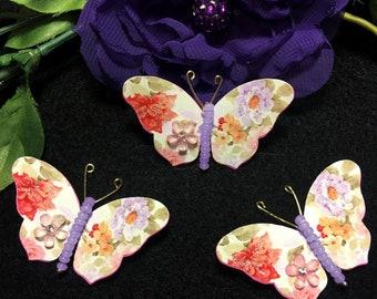 Watercolor Wonder Lavender Beaded Bodied Butterflies DarlingArtByValeri Butterfly Scrapbooking Embellishments Mini Albums Card Making Hawaii