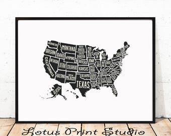 United States Map Print, US Map, USA Poster, All States Named, Printable Black And White Wall Art,  Digital Download, #012