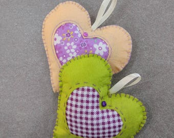 Two felt hearts  with  applique