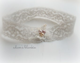 Thelma - Dove Gray Cream Bronze Lace Headband -  Vintage Style - Pearls  - Girls Newborns Baby Infant Adults