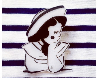 Brosche KIEZLADY, Küstenmädchen, Fernweh, Anstecker, Button, Pin Up Girl, Anker, Ahoi Moin, Mein Kiez, Schleife rockabilly, Geschenk für sie