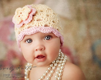 Crochet Baby Hat, Baby Girl Hat, Baby Girl Beanie, Baby Newborn Hat, Newborn Prop, Newborn Baby Hat, Baby Girl, Cream Pink