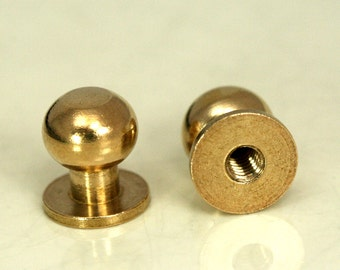 "4 pcs  10 x 9 mm Raw Brass Studs, Shirt Collar Tuxedo Stud, Industrial with 1/8"" thread hole with  brass 1/8"" bolt 1357R"
