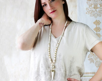 Long Ivory Beaded Necklace with Horn - Horn Necklace - Long Boho Beaded Necklace with Horn - Long Horn Necklace - Kay and Star