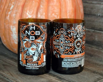 Day of the Dead Recycled Wine Bottle Glasses- Set of 2, Hob Nob  Halloween glasses, Dia De Los Muertos