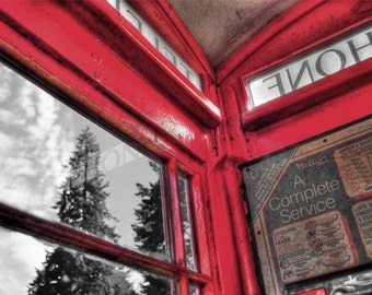 Red phone booth photo, HDR photograph, selective color, Red black & white, fine photography prints, A Touch of the UK