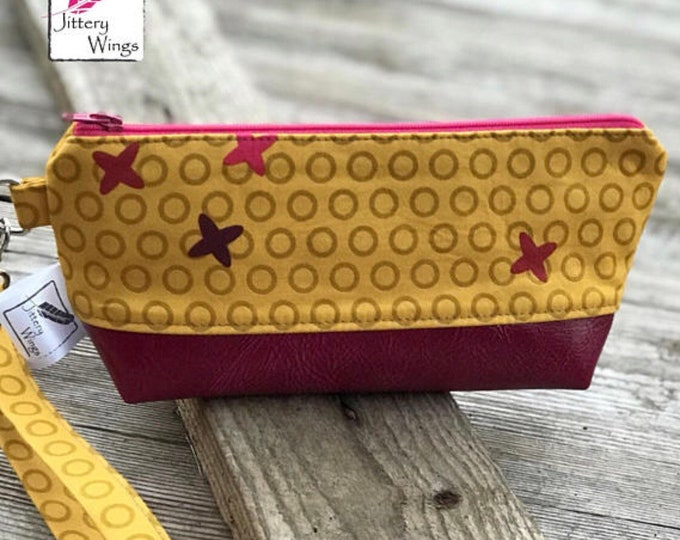 The Brooke Clutch Wristlet ~ Yollow with Hot Pink Vinyl