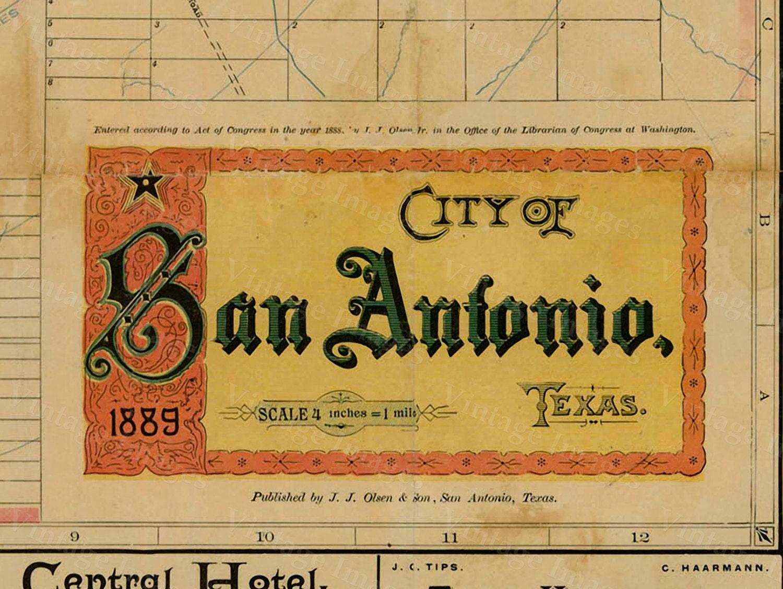 San Antonio map Texas Map vintage 1889 old map of San Antonio