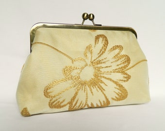 Gold Bridal Clutch, Gold Embroidered Clutch, Clutch Purse, Gold Wedding Clutch, Embroidered Organza Design, Gold Evening Clutch