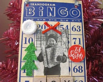 Vintage Christmas Joy Altered Bingo Card Holiday Decoration Door Hanger Ornament Accent Girl with gifts Retro