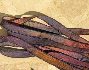 Twilight Silk Ribbons Hand Dyed Silk Strings, Crinkle Silk, Watercolor Ribbon, Stringing Supplies