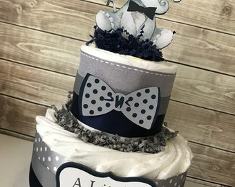 Little Peanut Diaper Cake in Navy and Gray, Elephant Baby Shower Centerpiece, Elephant Baby Shower Decorations