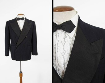 Vintage 50s Tuxedo Jacket Double Breasted Peak Lapel - Size 40