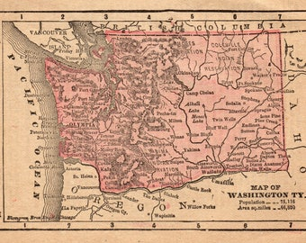 1888 RARE Size Antique WASHINGTON Map of Washington State Map Print Gallery Wall Art Office Decor MINIATURE Map Gift For Map Collector 7907