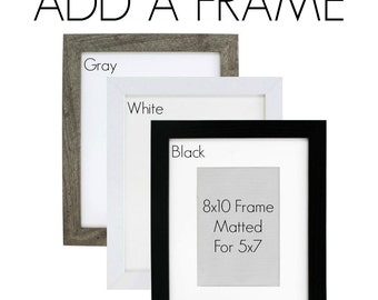 ADD a FRAME to your order - Black, Gray or White Frames, Please select 8X10 frame with or without Mat Board, Ready to Hang