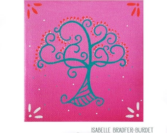 Tree of life Fuchsia and turquoise