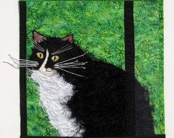 Cat in the Window Quilt Art Wall Hanging