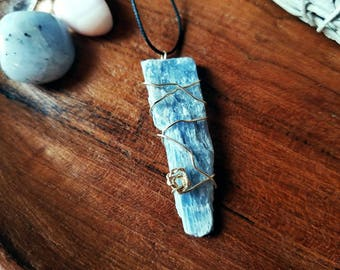Kyanite Amulet | Wire Wrapped Necklace | Pendant, Crystals, Gems, Jewelry, Spiritual, Rocks & Minerals, Natural, Stone