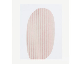 Minimal original art, abstract handmade screenprint in pink, beige and cream on fabriano by Emma Lawrenson