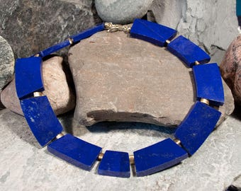 Gemstone necklace made of lapis with gold-plated 925 silver