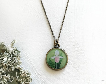 Lady Slipper Necklace, Pink lady slipper, floral art, Pink flower, Pink lady slipper painting
