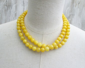 Bright Yellow Double Strand Layered Beaded Necklace