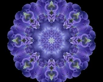 Fountain of Blessings - Purple Flower  Mandala Art