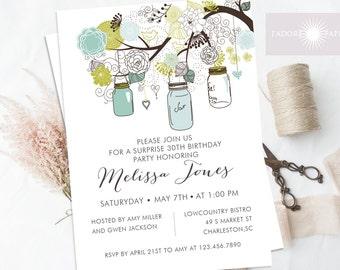 Mason Jar Invitation, Girl Birthday Invitation, Printable Birthday Invite, Adult Birthday Invite, Blue, Green Mason Jar, jadorepaperie