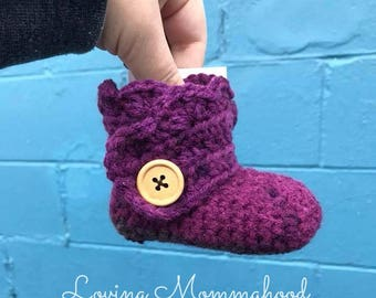 Wrap around baby booties - Girl Booties - Purple Booties - Ruffle Booties - Baby Booties - Ruffle Baby Booties - Baby shoes - Girl Shoes