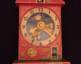 Fisher Price Music Box Teaching Clock 1968