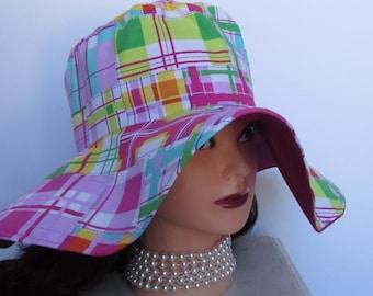 """Ladies Sun Hat - Madras Sun Hat - Plaid Sun Hat - Summer Hat - Sun Hat for Women - 23"""" Around - Made in Maine - 4"""" brim"""