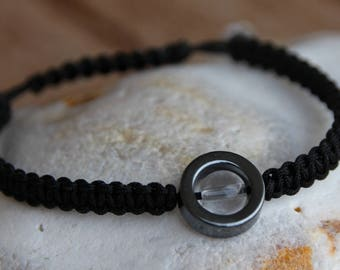shamballa bracelet with hematite and quartz bead