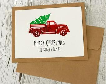 Vintage Red Truck Christmas Card | Rae Dunn Inspired Red Truck Cards | Holiday Truck Card