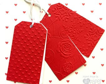 Red gift tags. Embossed - Snowflake, Rose, Hearts, Butterfly, Daisy, Dots, Baby Feet, Chevron. Christmas gifts, baby shower, birthdays.