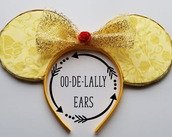 Sample Sale! Belle Mouse Ears, Belle Mickey Ears, Belle Minnie Ears, Disney Princess, Beauty and the Beast, Princess Belle
