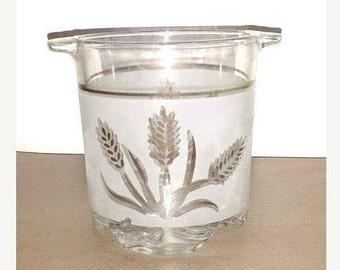 Mid Century Italian DeValBor Gold Wheat Glass Ice Bucket,Gold Wheat Barware,Mad Men,MCM,Gold Wheat,Italy,Italian DeValBor,Wine Chiller,1960s