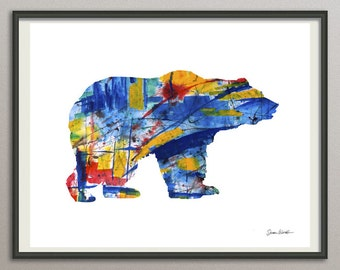 Bear art print poster, bear watercolor, abstract bear, bear silhouette, bear illustration, bear painting, bear decor, bear wall art