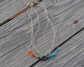 Colored Beaded Necklaces on Natural Cord