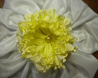 Large Daffodil Millinery Ribbon Flower