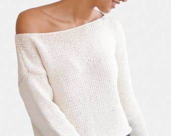 Oversized Sweater, Boxy Knit Sweater, One Shoulder Sweater, Hand Knit Sweater, Open Shoulder Top, Off Shoulder Sweater, Hand Knitted Top