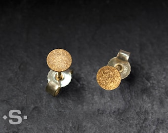 Gold Circle Stud Earrings, 3 mm, 4 mm or 5 mm, solid Gold 14 k and Gold 24 k. Handmade.
