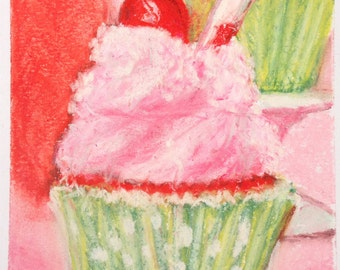 Cherry Limeade Cupcake Pastel Painting