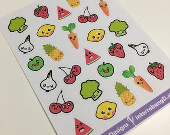 A110 - Kawaii Produce Stickers - Planner Stickers - Erin Condren Happy Planner