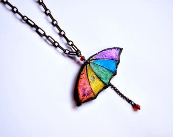 Umbrella necklace,  gay pride jewelry, LGBT necklace, rainbow pendant, gift lesbian jewelry, girlfriends gift, LGBT Christmas gift